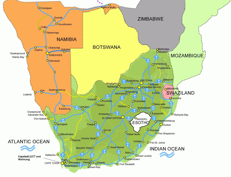 Suedafrika-Strassenkarte.jpg SUEDAFRIKA KARTE
