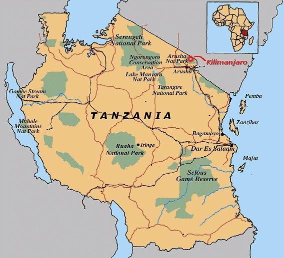 Tansania Nationalparks Landkarte