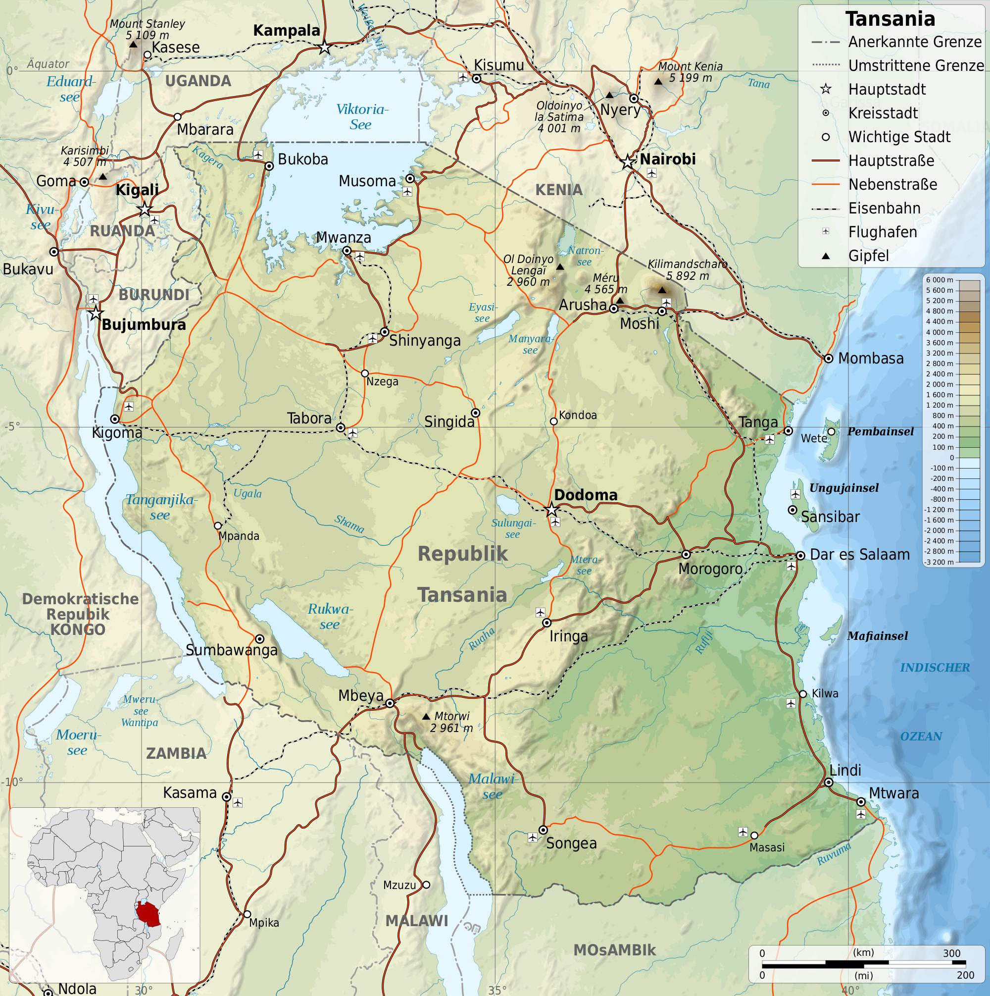 Tansania Strassenkarte