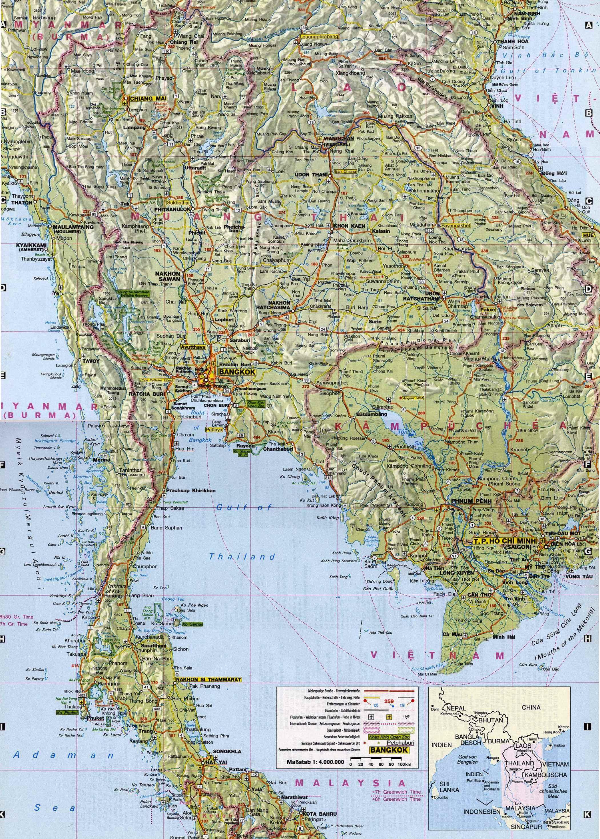 Thailand Strassenkarte