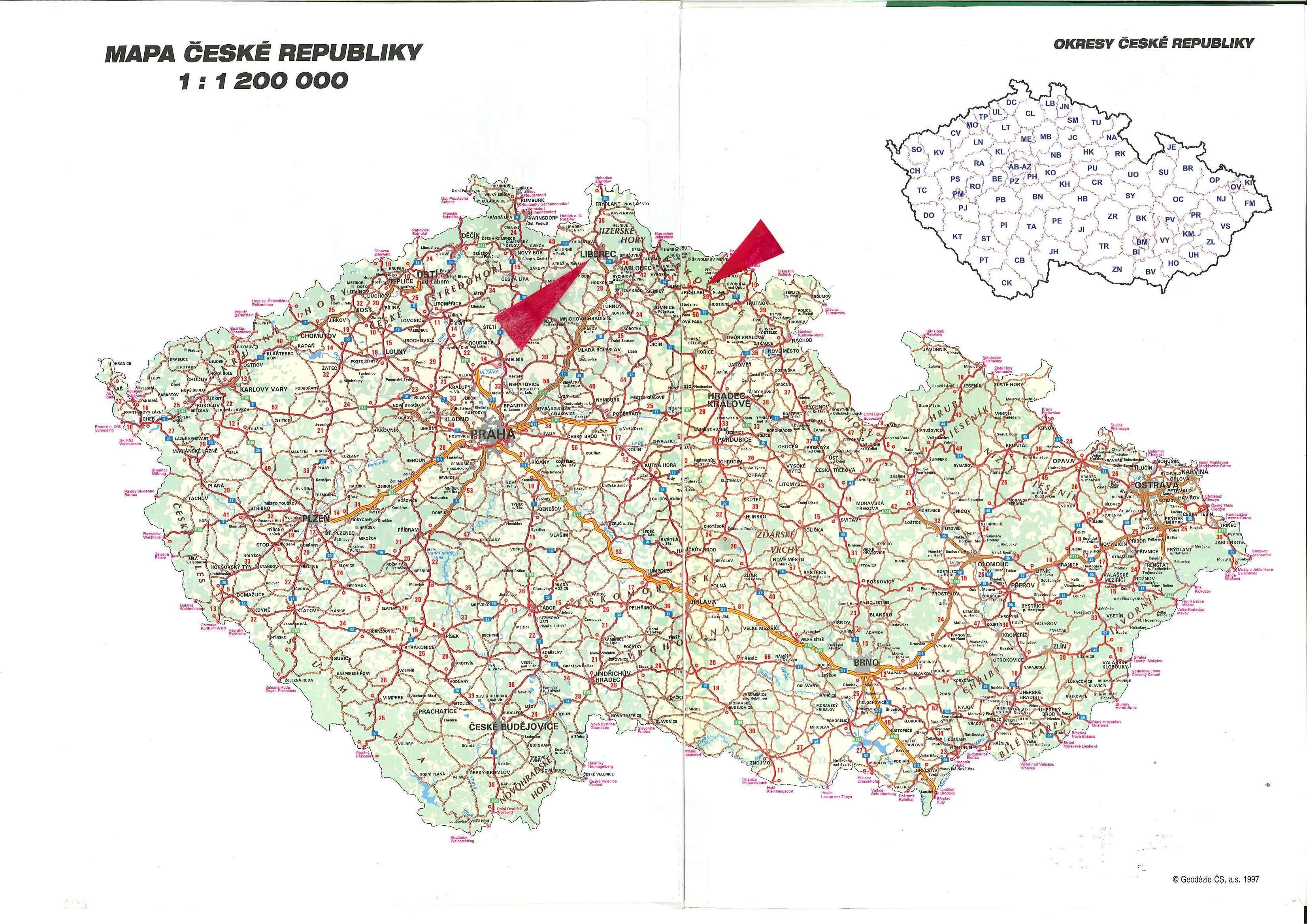Tschechien Strassenkarte