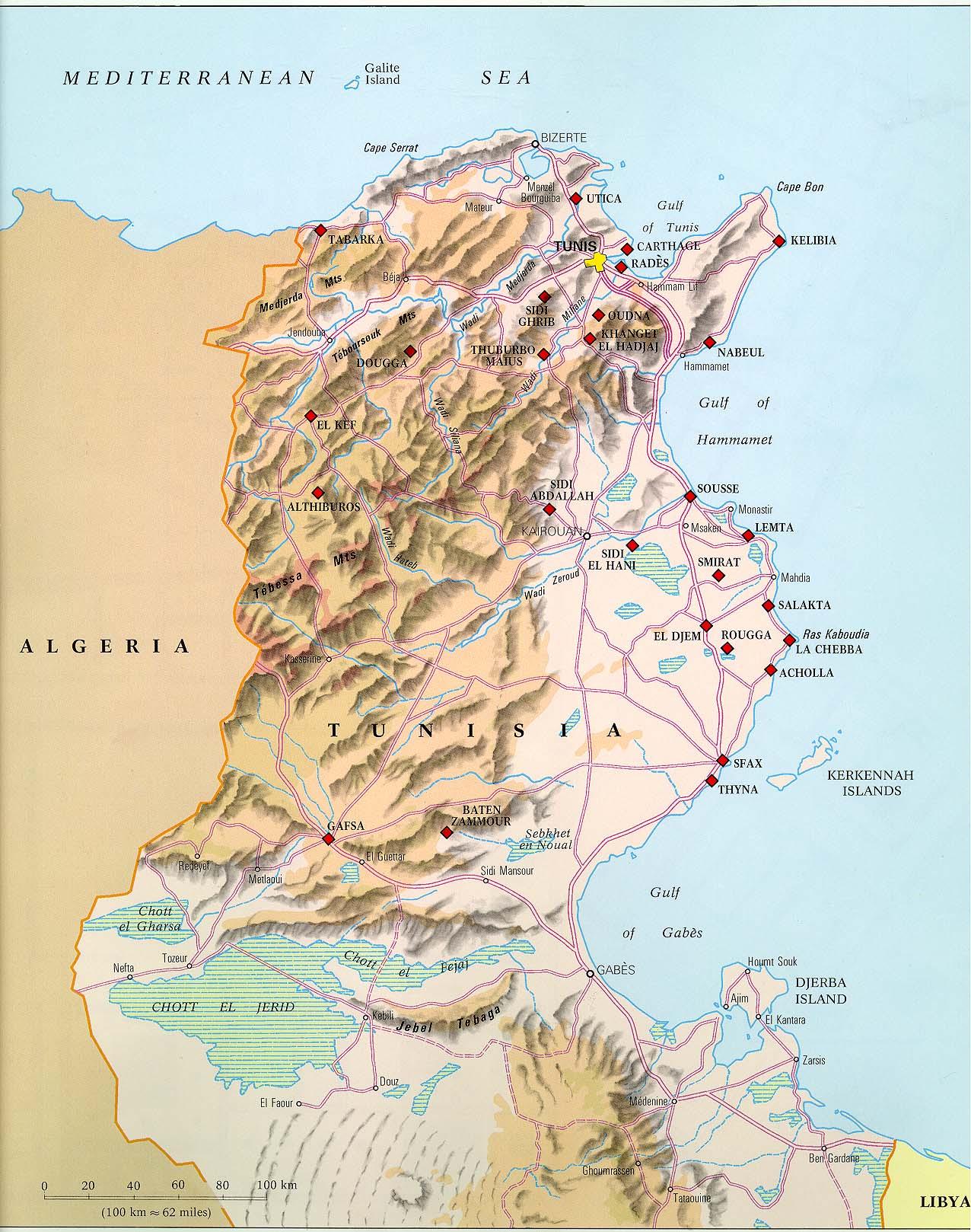 Tunesien Strassenkarte