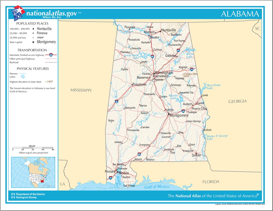 USA Karte Alabama Strassenkarte