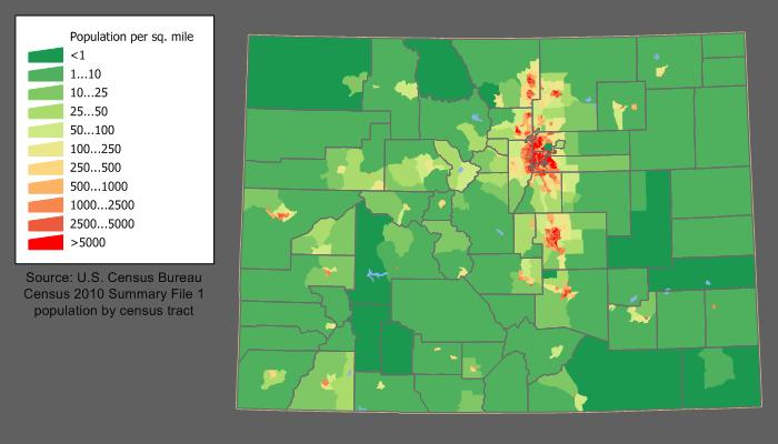 Karte Colorado Bevoelkerungsdichte