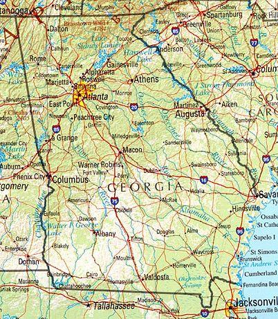 USA Karte Georgia Geographische Karte