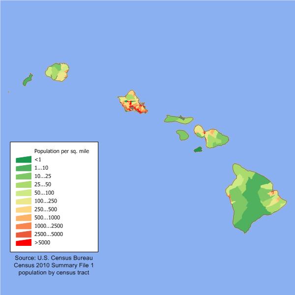 USA Karte Hawaii Bevoelkerungsdichte