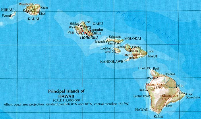 USA Karte Hawaii Geographische Karte