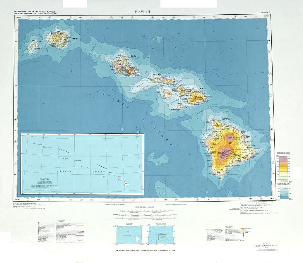 USA Karte Hawaii Topographie
