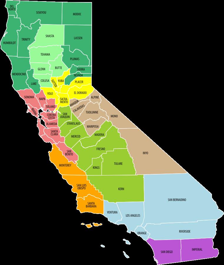 USA Karte Kalifornien Regionen