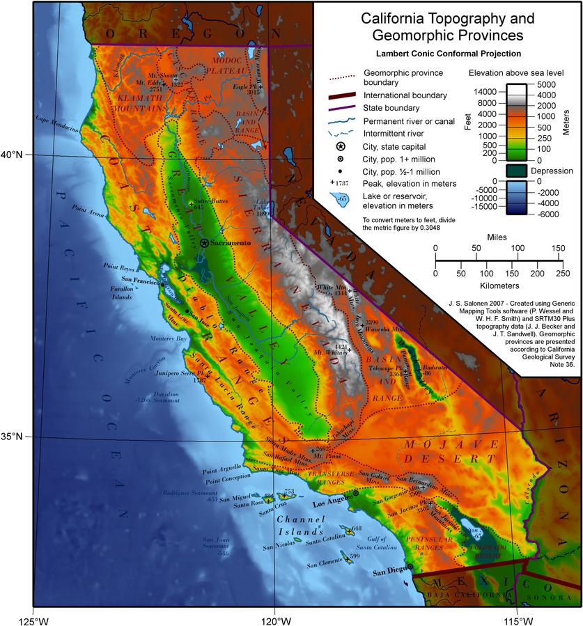 USA Karte Kalifornien Topographie