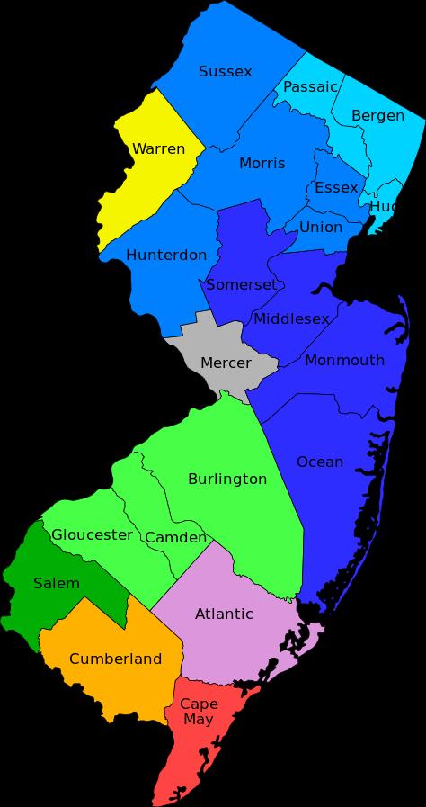 USA Karte New Jersey Regionen