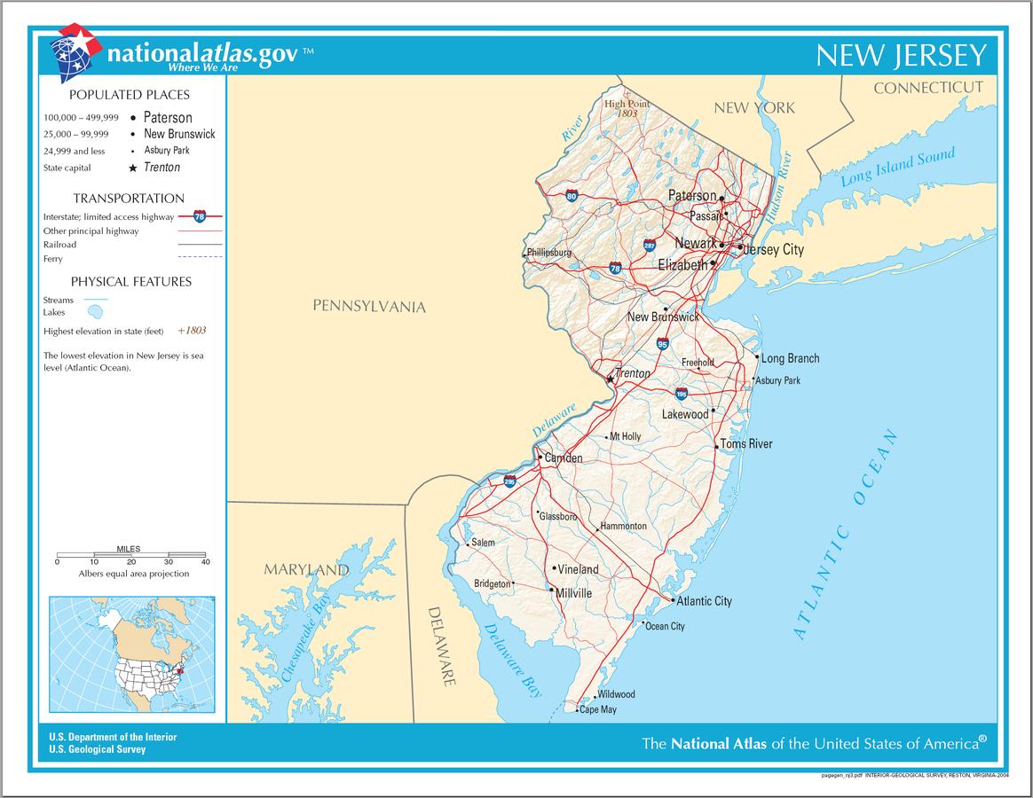 USA Karte New Jersey Strassenkarte