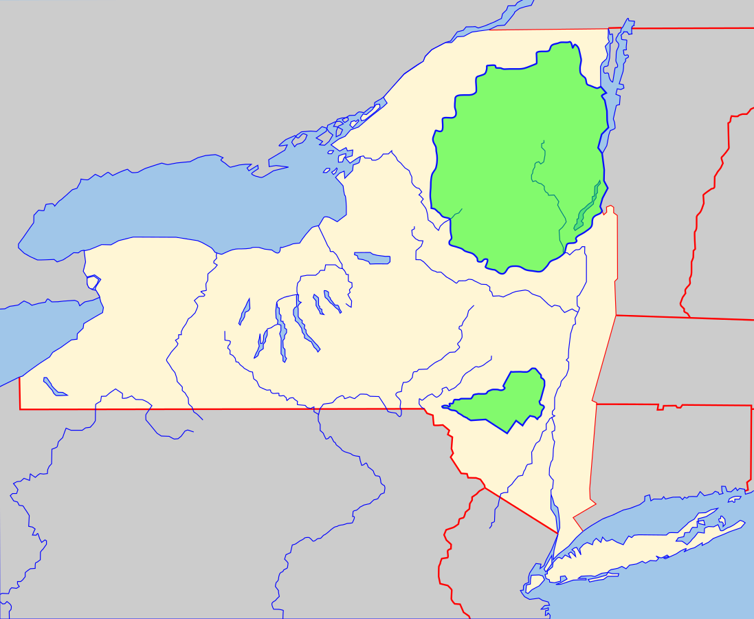 USA Karte New York Adirondack Park und Catskill Park