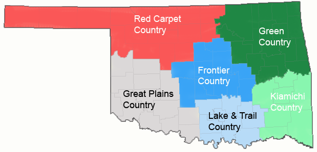 USA Karte Oklahoma Reise Regionen
