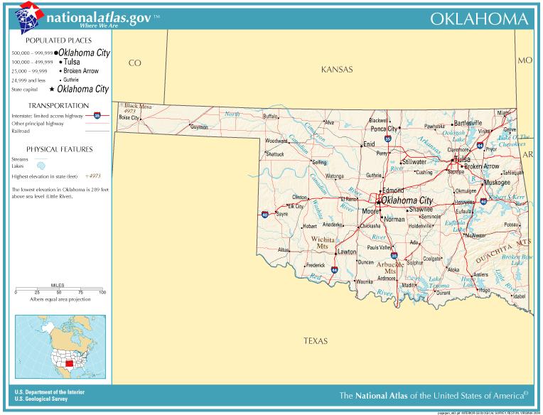 USA Karte Oklahoma Strassenkarte