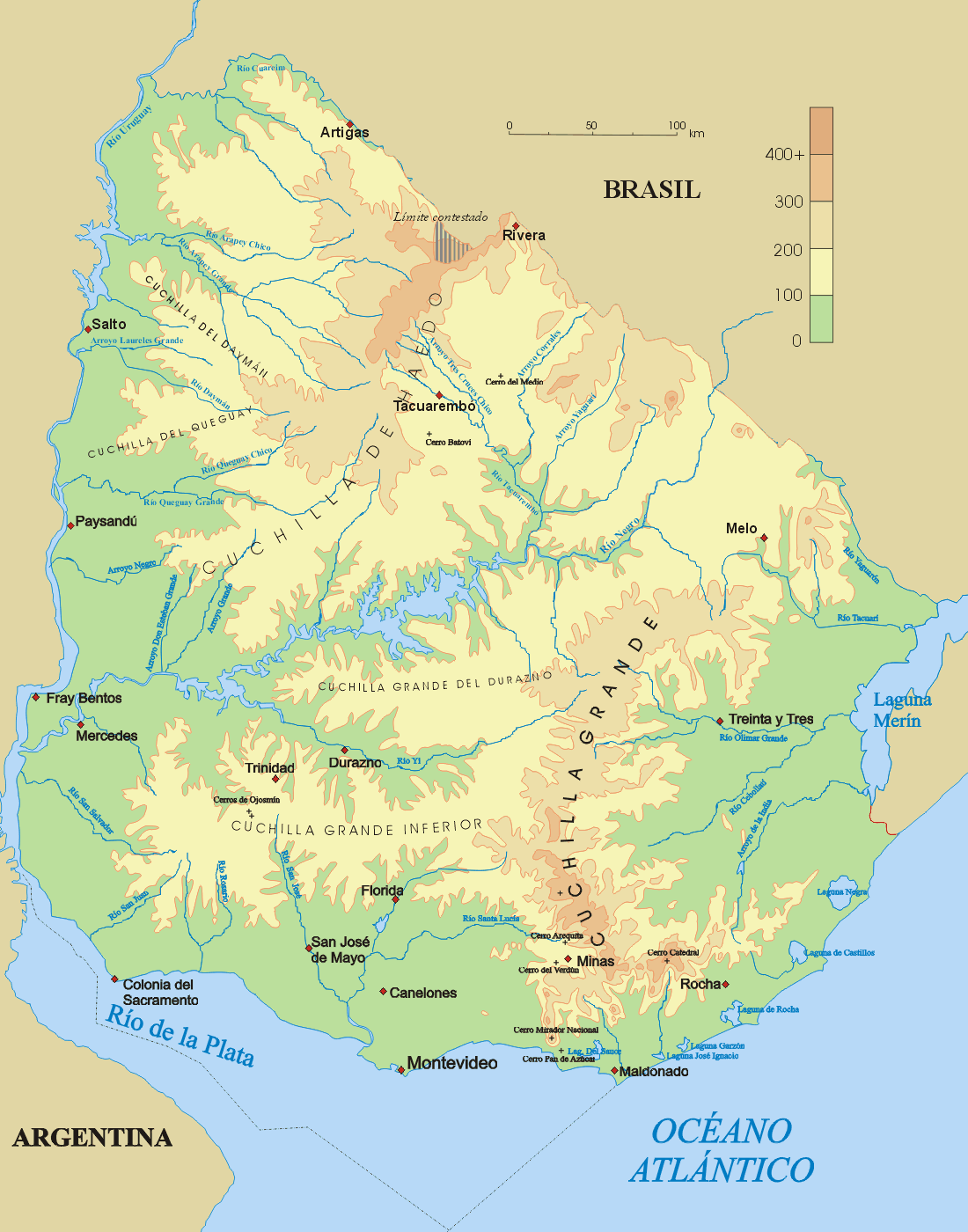 Uruguay Landkarte
