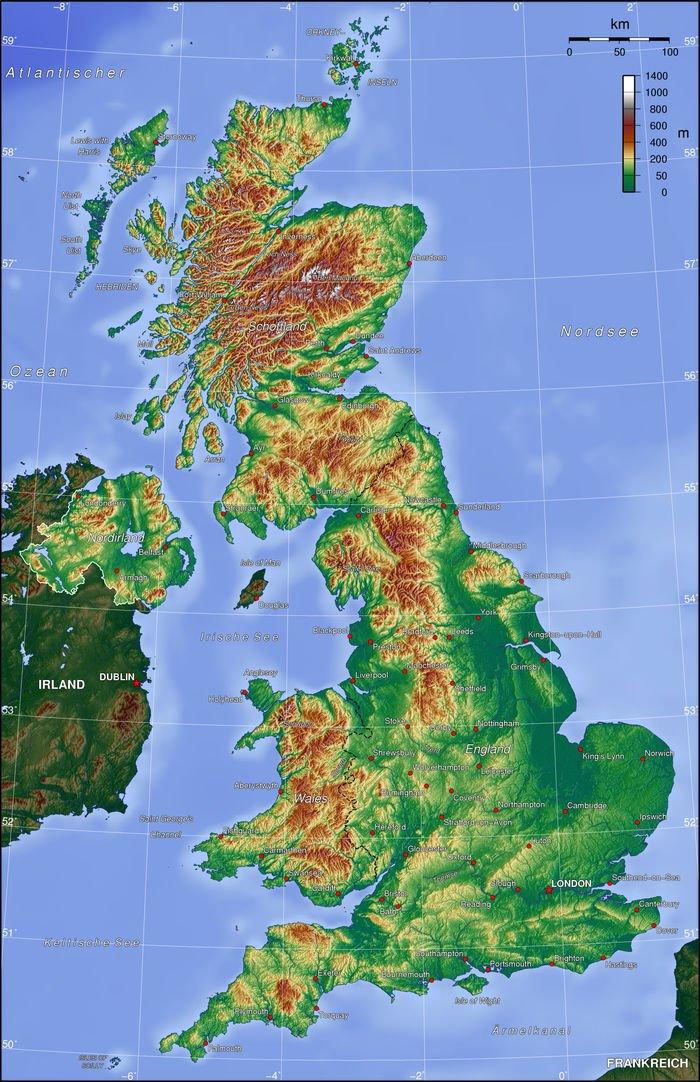 Vereinigtes Koenigreich Topographie