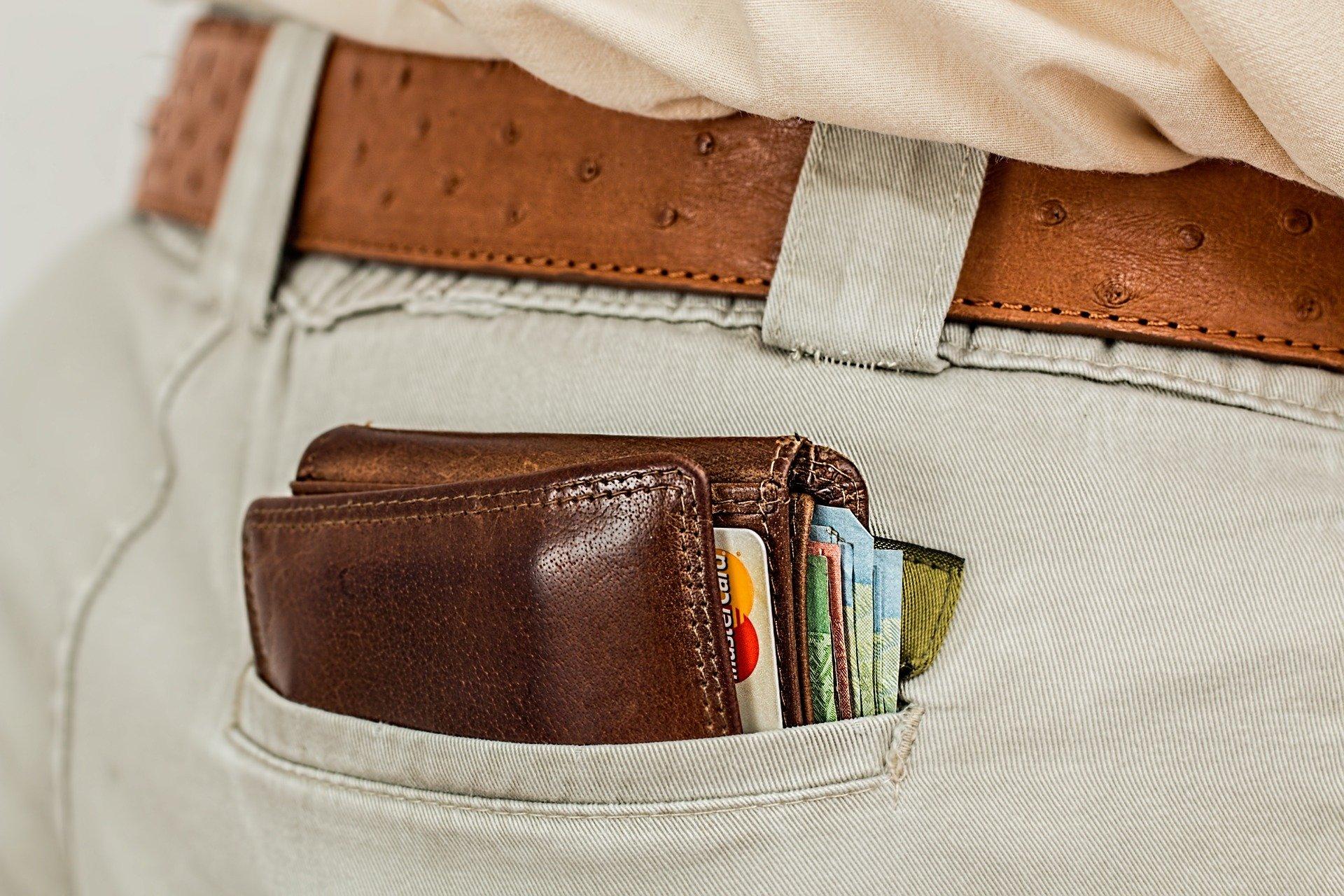 Vielfliegerkarte im Portemonnaie